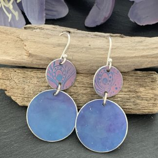 cornflower and pink/lilac earrings