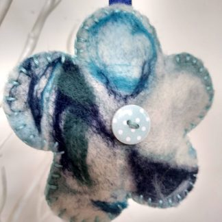 Flower shaped needle felted keyring by Oh Sew Creative