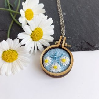 Hand embroidered mini hoop pendant, personalised with the letter K.