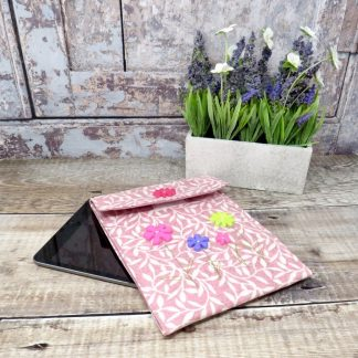 Handmade pink ipad mini case decorated with floral buttons