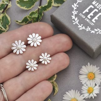 Sterling silver 10mm and 12mm daisy stud earrings size comparison Made By fee