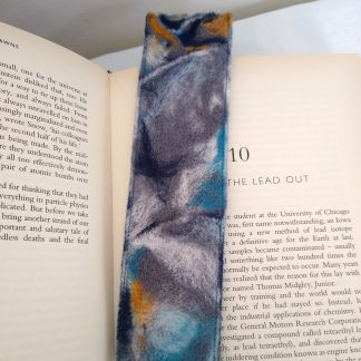 Stormy Grey and Blue Needle felted bookmark in use by Oh Sew Creative