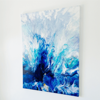 abstract canvas wall art in shades of blue