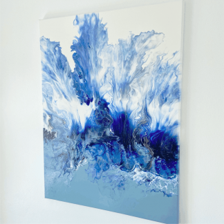 coastal blue acrylic painting on stretched canvas