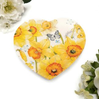 Heart Trinket Dish Ceramic Flowers and Butterfly