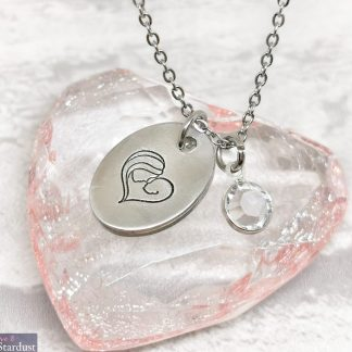 Hand-stamped Pewter Necklace with Mother & Baby