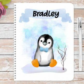 Blue Christmas penguin personalised notebook