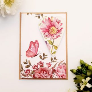 Wooden Heart Gift and Card in one pink flowers adien crafts