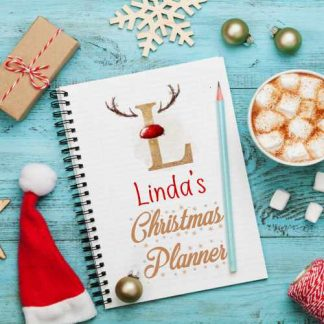Christmas planner notebook personalised with name and inital with antlers and red nose