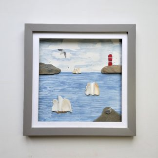framed picture of tall ships made from sea shells