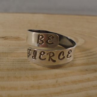 sterling silver stamped be fierce adjustable ring