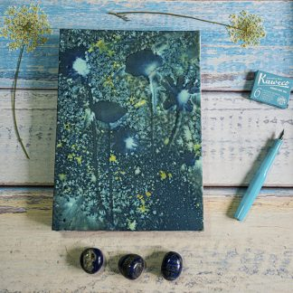 Hand Bound B5 Journal with Original Wet Cyanotype Print Covers … Poppies and Daisies with Golden Sparkles … Because Your Words Are Worth It