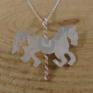sterling silver and copper arousel horse necklace