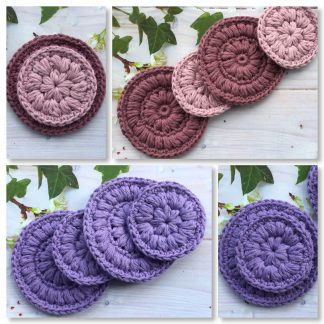 Crocheted reusable cotton makeup remover pads.
