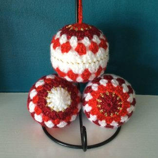 Crocheted Christmas Tree Baubles.