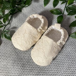 Cream lace baby slippers