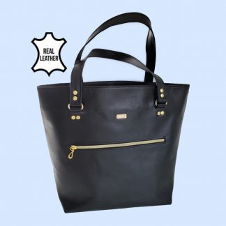 Black real leather tote everyday bag front view