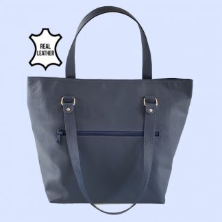 Blue Leather tote front view