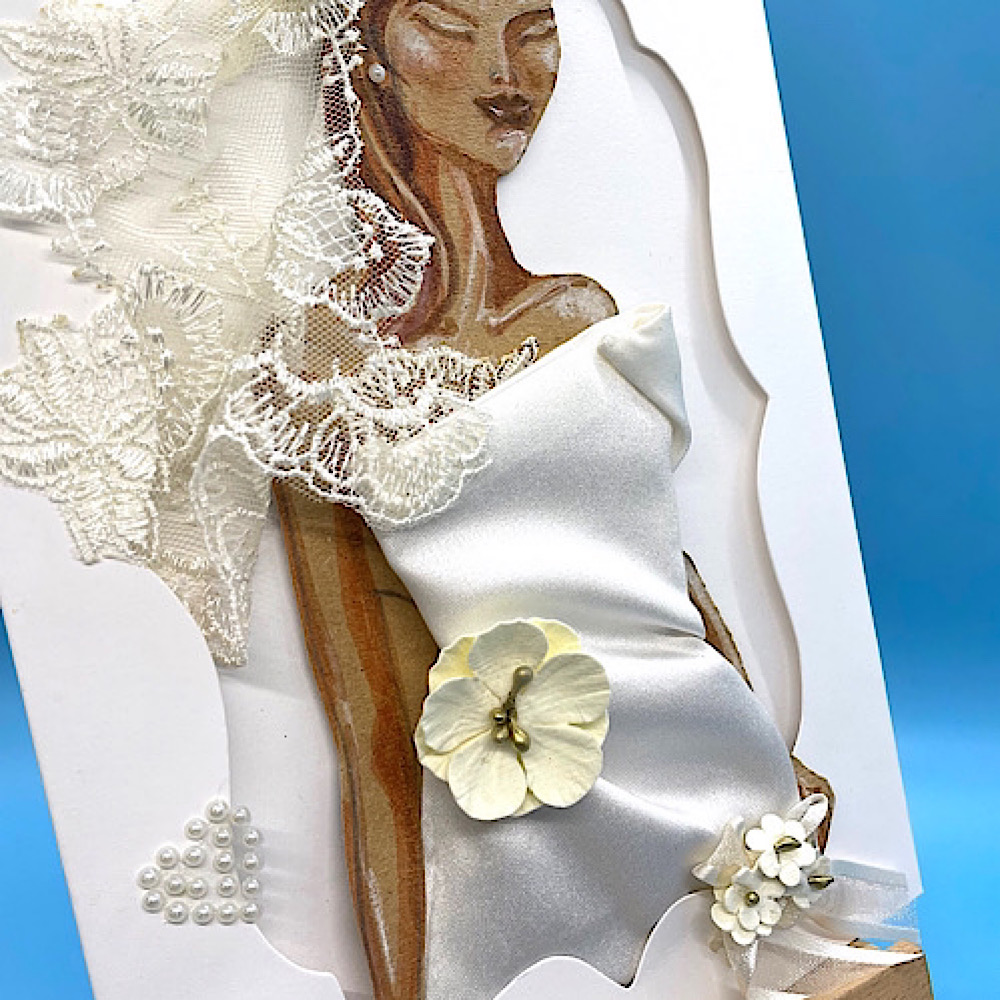 Bride-2-B-Textile-art-card-ivory-satin-dress-for Special-Occasion