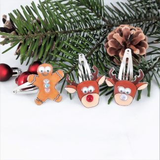 Christmas Gingerbread Man and Reindeer hair clips