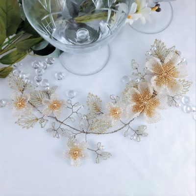 The Eternal Bouquet crystal flower hair vine with large beaded flowers