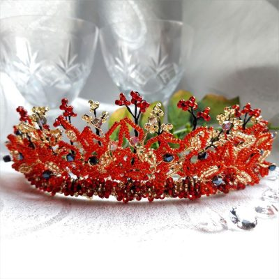 Red and gold bridal weeding tiara from the Radiance Collection.