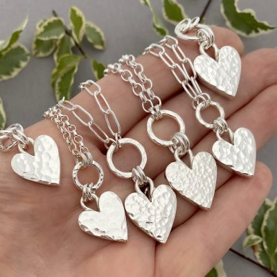 Chunky hammered sterling silver heart circle pendant necklace belcher rolo or drawn paperclip chain