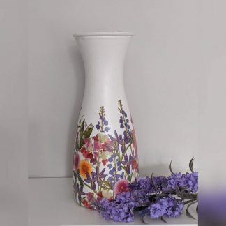 25cm tall vase decoupaged with a bold purple and pink meadow flower design