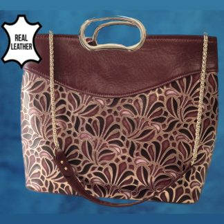 Gillijo red gold real leather bag front