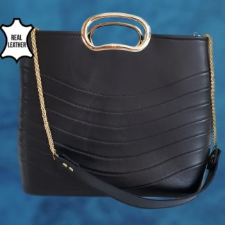 Gillijo black real leather bag front