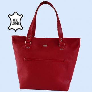 red leather tote front view