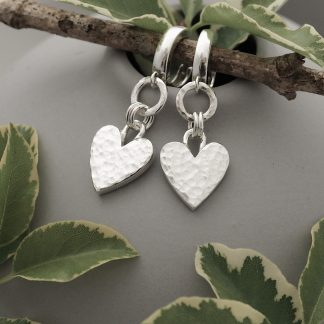 Hand forged sterling silver hammered heart and circle dangle drop earrings with huggie hoop leverbacks