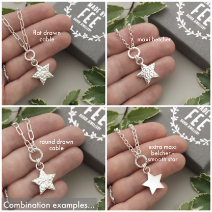 Rustic hammered sterling silver star circle pendant necklace on belcher rolo or drawn paperclip chain