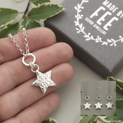 Handmade sterling silver star charm pendant on drawn paperclip or belcher chain