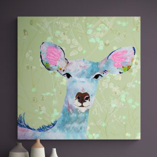 Wall art canvas of a kudu on a green background