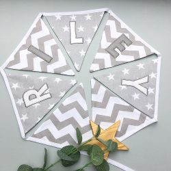 Personalised Grey & White embroidered bunting
