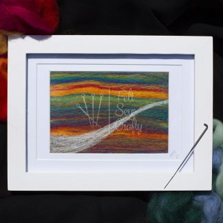 needle felted artwork Rainbow path front view