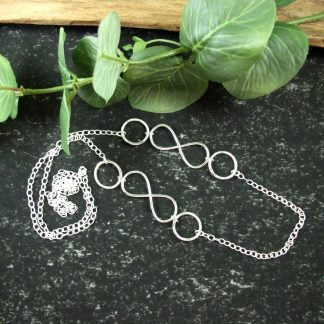 Long Silver Infinity Knot Chain Necklace