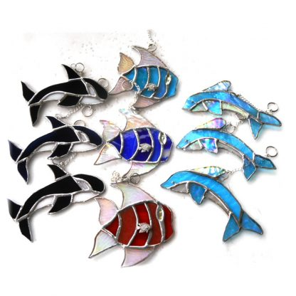 Underwater stained glass suncatcher whale dolphin fish