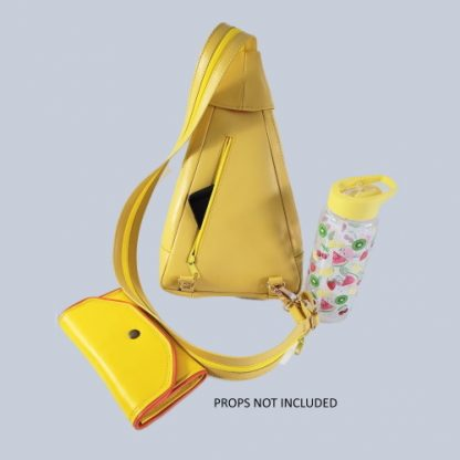 Yellow backpack rear with props