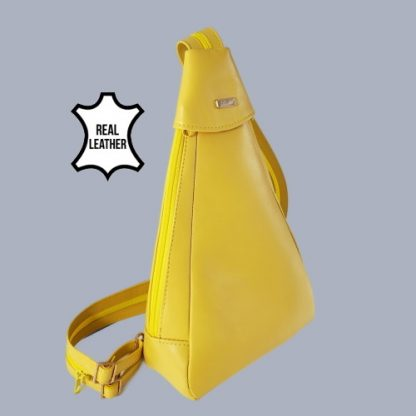Yellow backpack angle view