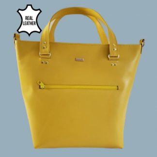 Yellow leather tote bag front view