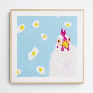 Fun artwork of a chicken with a background of fried eggs. For nursery and kids.