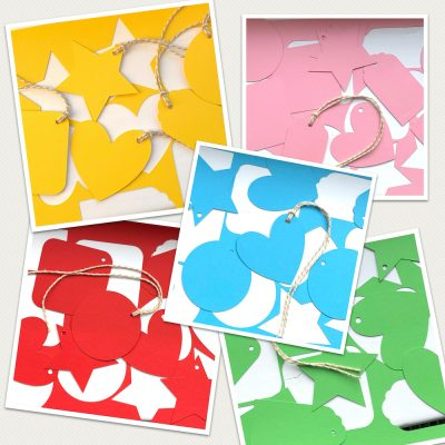 coloured gift tags set of 10 collage