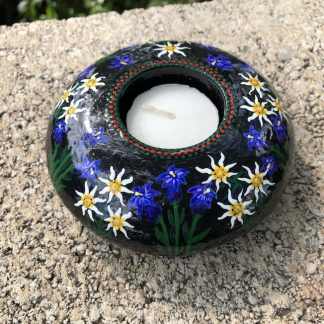 Round tea light holder with hand painted edelweiss and gentian violets