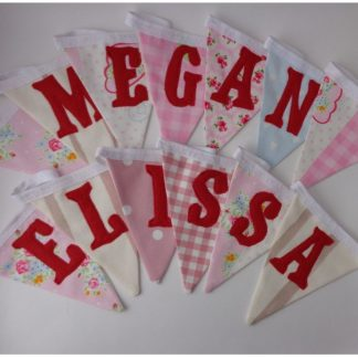 girls pink and red bunting