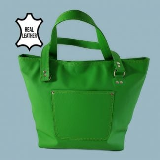 Green leather tote front view
