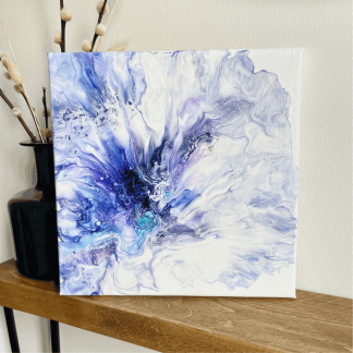 modern wall decor canvas in blues and purples
