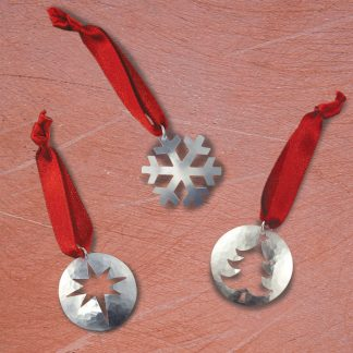 selection of three sterling silver disc xmas tree hanging decorations