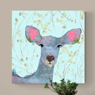 Fantasy art print on canvas of a wild animal kudu with blue foliage background.Canvas art for children.